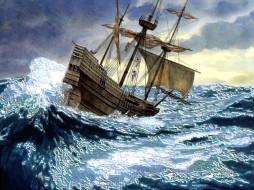 фантазия, корабли, рисованные