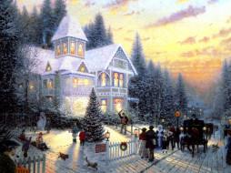 дом, зима, снег, праздник, люди