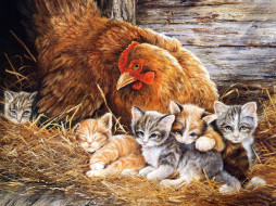 04, рисованные, животные, кот, котенок, петух