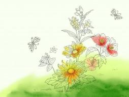 рисованные, цветы