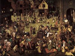 битва, масленицы, поста, рисованные, pieter, bruegel