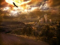 небесный, город, фэнтези, иные, миры, времена