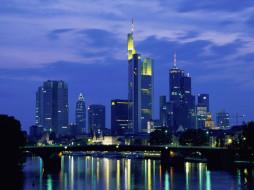 frankfurt, города, огни, ночного