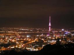 auckland, города, огни, ночного