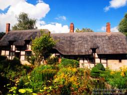 england, shottery, near, stratford, upon, avon, anne, hathaway, города, здания, дома