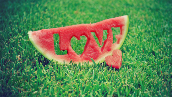 еда, арбуз, любовь, лето, фрукты, романтика