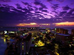 cancun, at, twilight, mexico, города, огни, ночного