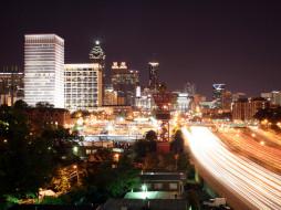 города, огни, ночного, atlanta, georgia
