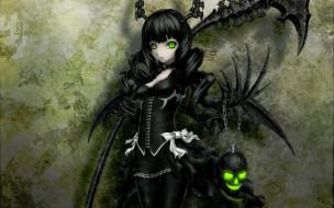 аниме, black, rock, shooter, девушка, демон, рога, крылья, коса, смерти, череп, цепь
