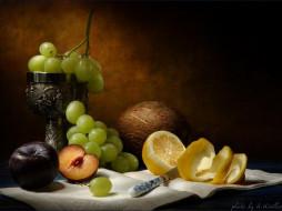 Кириллов Анатолий - Натюрморт с фруктами, кубком и кокосовым орехом. обои для рабочего стола 1024x768 кириллов, анатолий, натюрморт, фруктами, кубком, кокосовым, орехом, еда