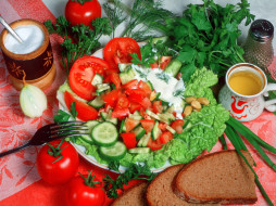 еда, салаты, закуски, томаты, помидоры, хлеб, зелень
