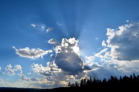 природа, облака, солнце, тучи, небо
