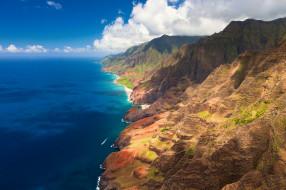 природа, побережье, небо, скалы, простор, океан, синева