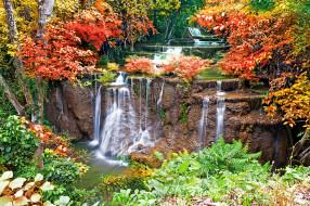 природа, водопады, река, каскад, лес, осень, деревья