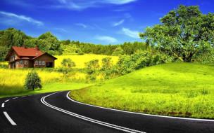обои для рабочего стола 1680x1050 природа, дороги, дорога, разметка, деревья, дом