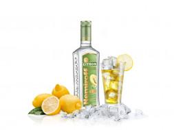 бренды, nemiroff, стакан, лимон, лед, водка