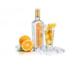 бренды, nemiroff, водка, лед, апельсин, стакан
