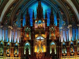 notre, dame, basilica, montreal, canada, интерьер, убранство, роспись, храма