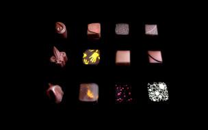 еда, конфеты, шоколад, сладости, тёмный, фон, дольки