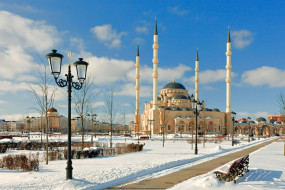 грозный, Чечня, города, столицы, государств, зима, снег, фонари, мечеть
