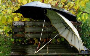 разное, сумки, кошельки, зонты, дождь, скамейка, парочка, зонтики