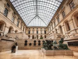 inside, the, louvre, museum, paris, разное, рельефы, статуи, музейные, экспонаты