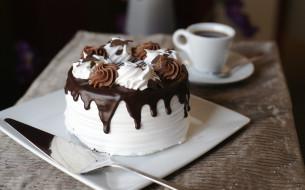 обои для рабочего стола 4000x2496 еда, пирожные, кексы, печенье, крем, лопатка, торт, кофе, чашка