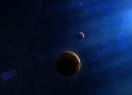 обои для рабочего стола 2008x1454 космос, арт, звезды, пространство, спутник, планета, бесконечность