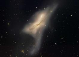 сталкивающиеся, галактики, ngc, 520, космос, туманности