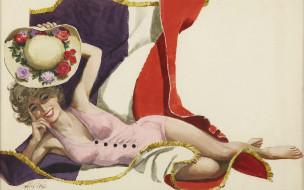 обои для рабочего стола 1920x1200 рисованные, alexander, sharpe, ross, шляпа, девушка