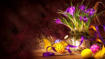праздничные, пасха, яйца, крокусы