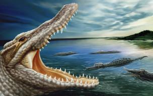 рисованные, животные, крокодилы