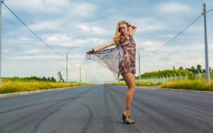 Ella обои для рабочего стола 4000x2500 -Unsort Блондинки, ella, девушки, unsort, блондинки, платье, колготки, дорога