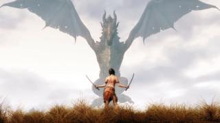 the, elder, scrolls, skyrim, видео, игры, дракон, трава