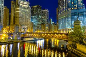 Сша небоскрёбы здания река ночной