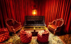 the, red, room, интерьер, гостиная