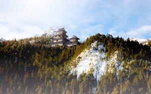 города, замки, Японии, туман, храм, горы