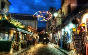 города, огни, ночного, montmartre