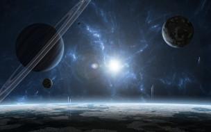 обои для рабочего стола 2560x1600 космос, арт, звезда, планеты, газовый, гигант, звездная, система