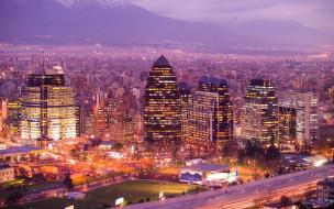города, огни, ночного, santiago de chile