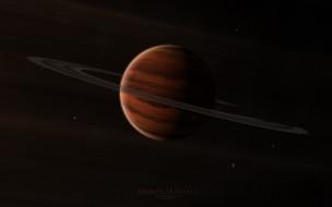 обои для рабочего стола 4000x2500 космос, арт, газовый, гигант, планета, кольца, спутники, звезды
