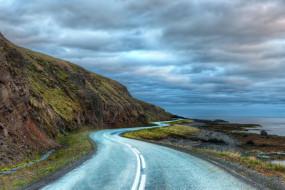 обои для рабочего стола 4000x2667 природа, дороги, iceland, исландия, дорога, побережье, облака