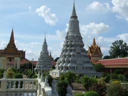 королевский, дворец, пномпеня, камбоджа, города, дворцы, замки, крепости, башни, резьба, сад