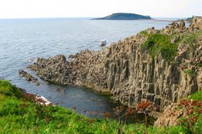 природа, побережье, корабль, море, скала