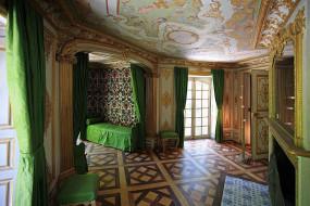 замок, нимфенбург, мюнхен, германия, интерьер, дворцы, музеи, софа, зеленый, роспись, портьеры