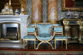 букингемский, дворец, интерьер, дворцы, музеи, колонны, часы, камин, кресла