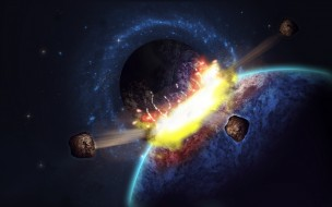 обои для рабочего стола 1920x1200 космос, арт, планеты, астероиды, взрыв