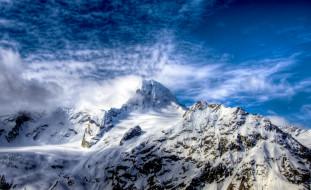 природа, горы, облака, кавказ, хребет, вершина