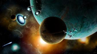 обои для рабочего стола 1920x1080 космос, арт, планеты, свечения