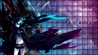 аниме, black, rock, shooter, девушка, синее, пламя, темная